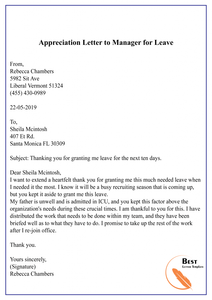 Appreciation Letter to Manager for Leave