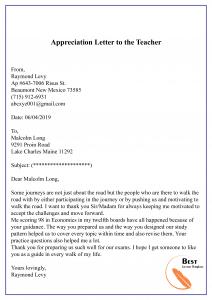Sample Appreciation Letter to the Teacher