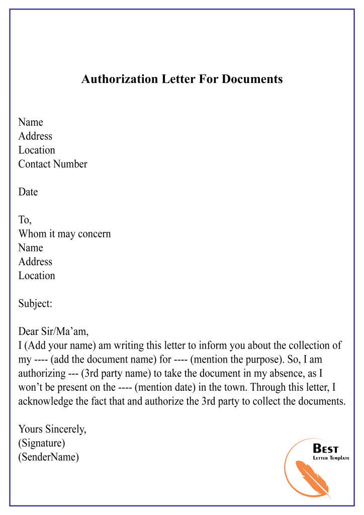 Authorization Letter For Documents