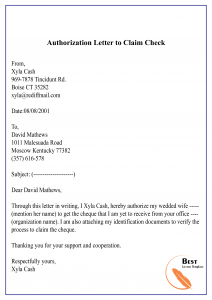 Authorization Letter to Claim Check