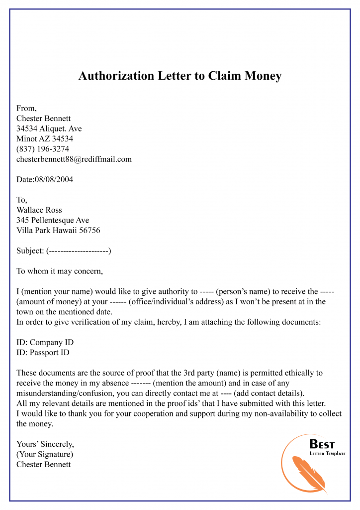 Authorization Letter to Claim Money