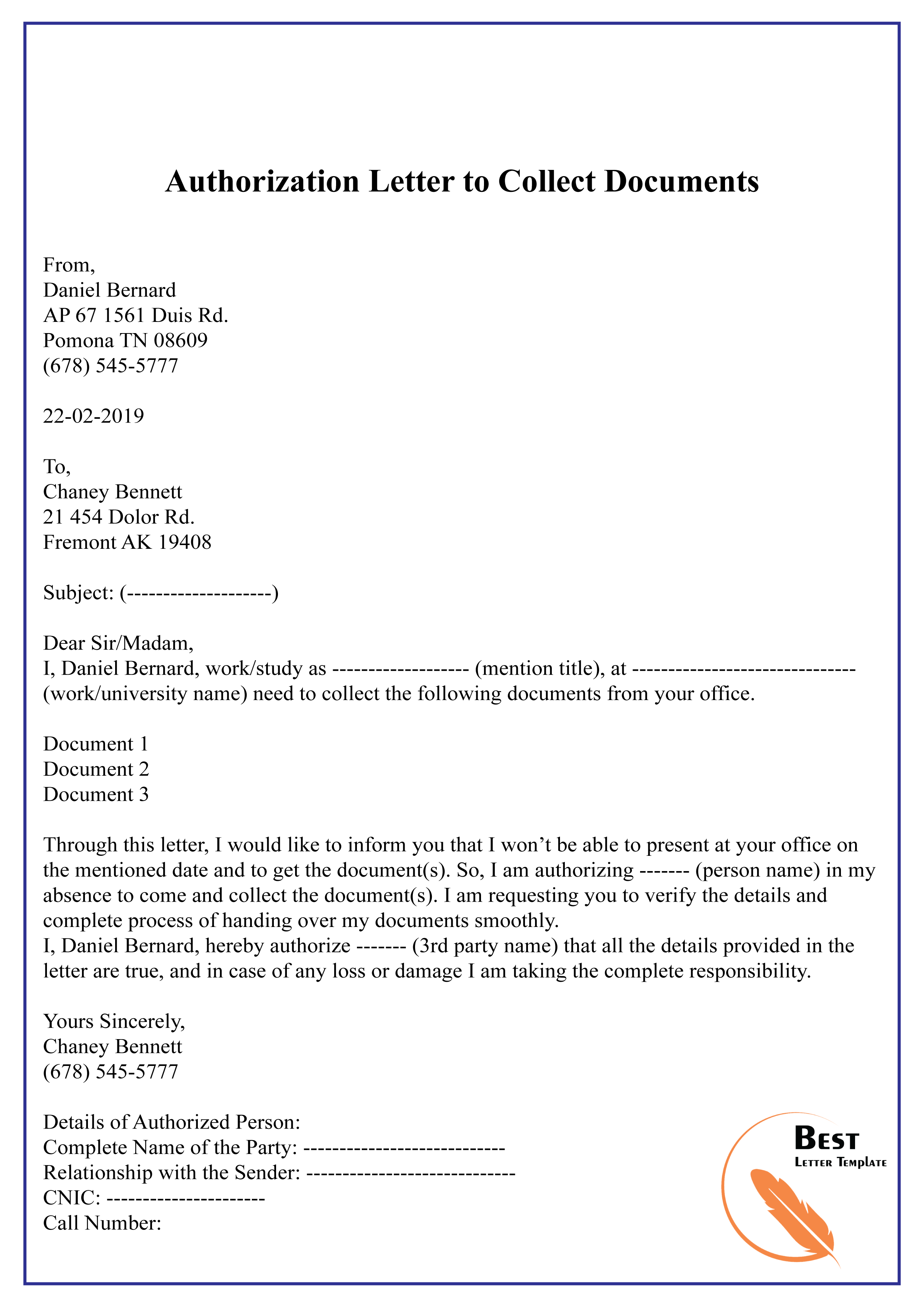 Authorization Letter Sample To Get Documents from bestlettertemplate.com