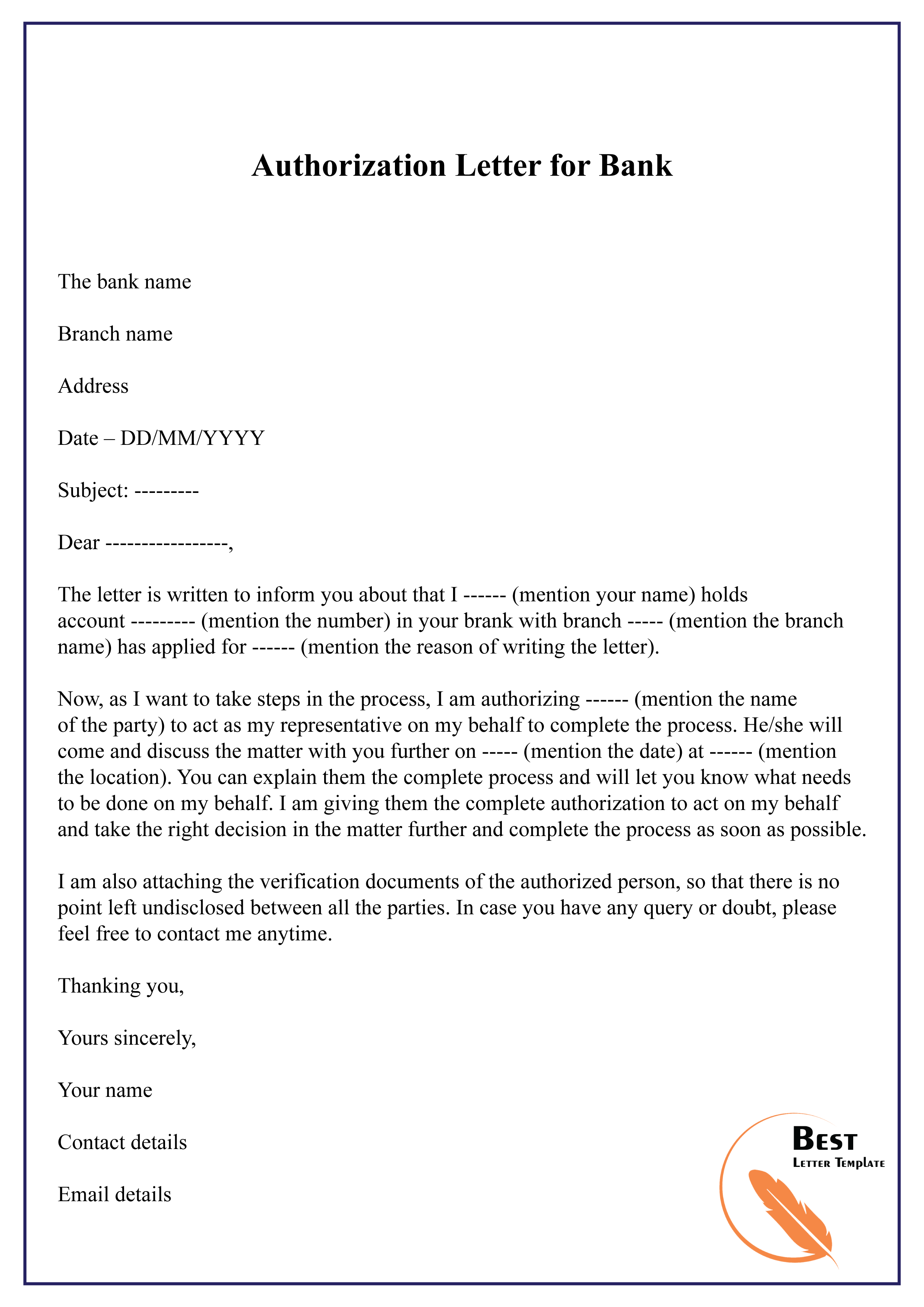 Authorization letter for bank-01 | Best Letter Template