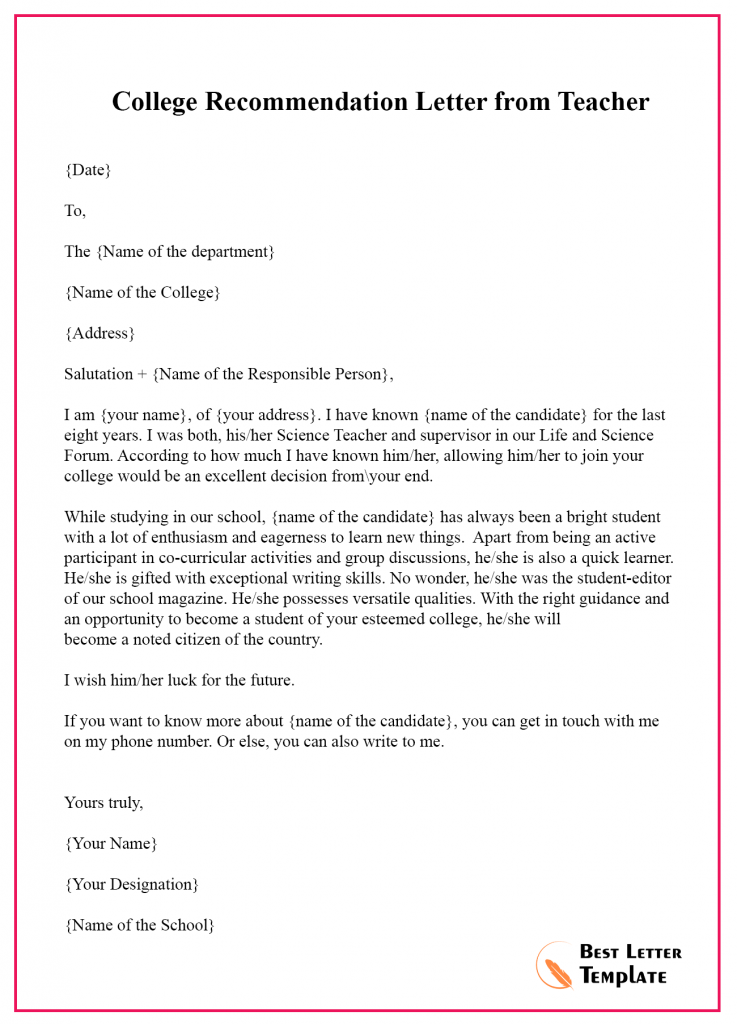 Recommendation Letter for Teacher