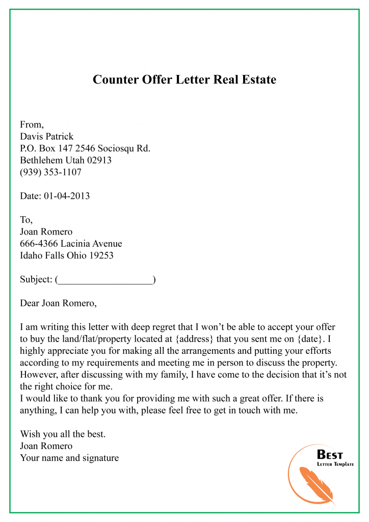 8+ Free Counter Offer Letter Template – Sample & Example