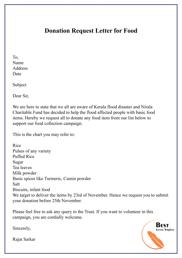 Donation Request Letter for Food