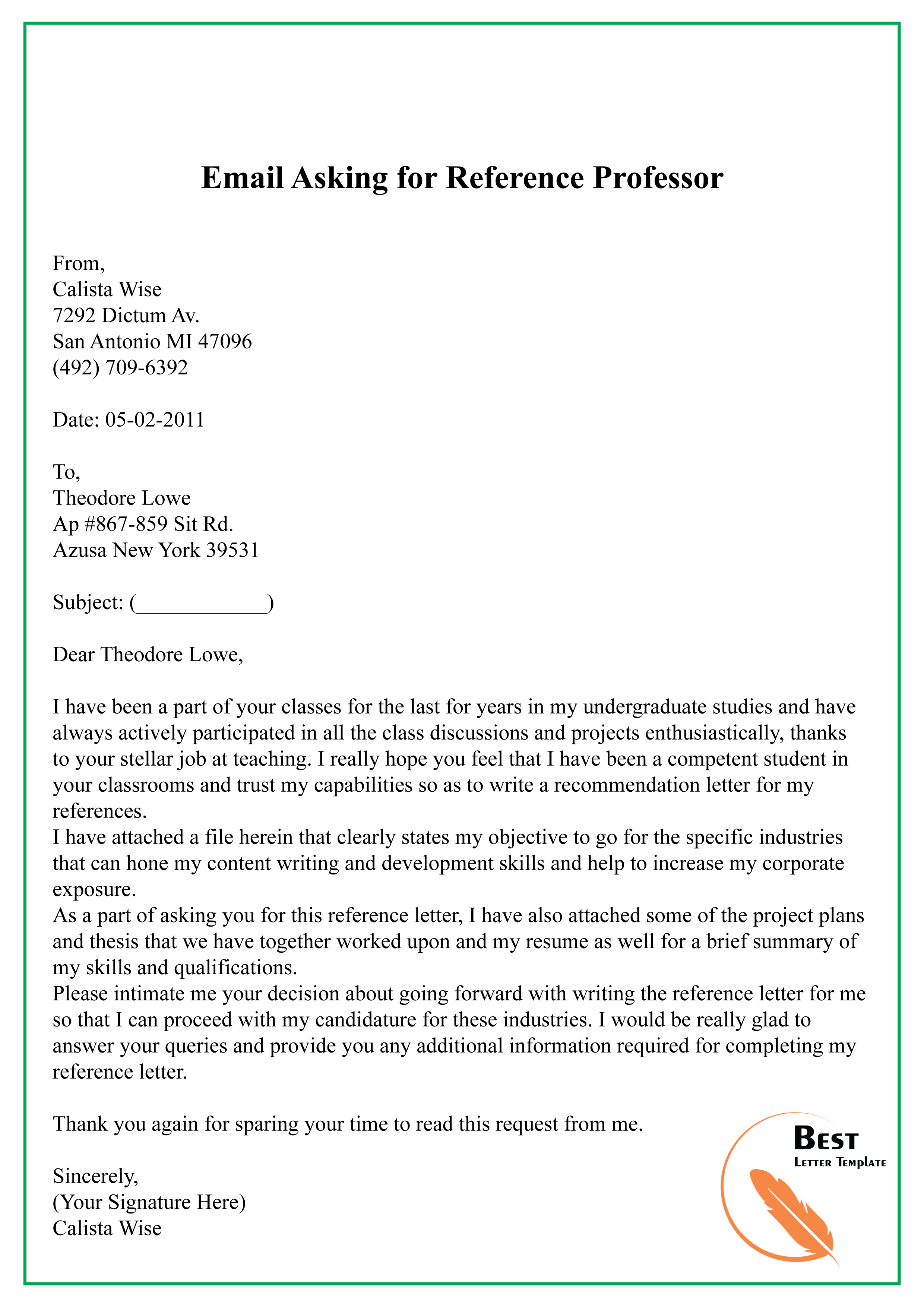 Ask Professor For Recommendation Letter Email from bestlettertemplate.com