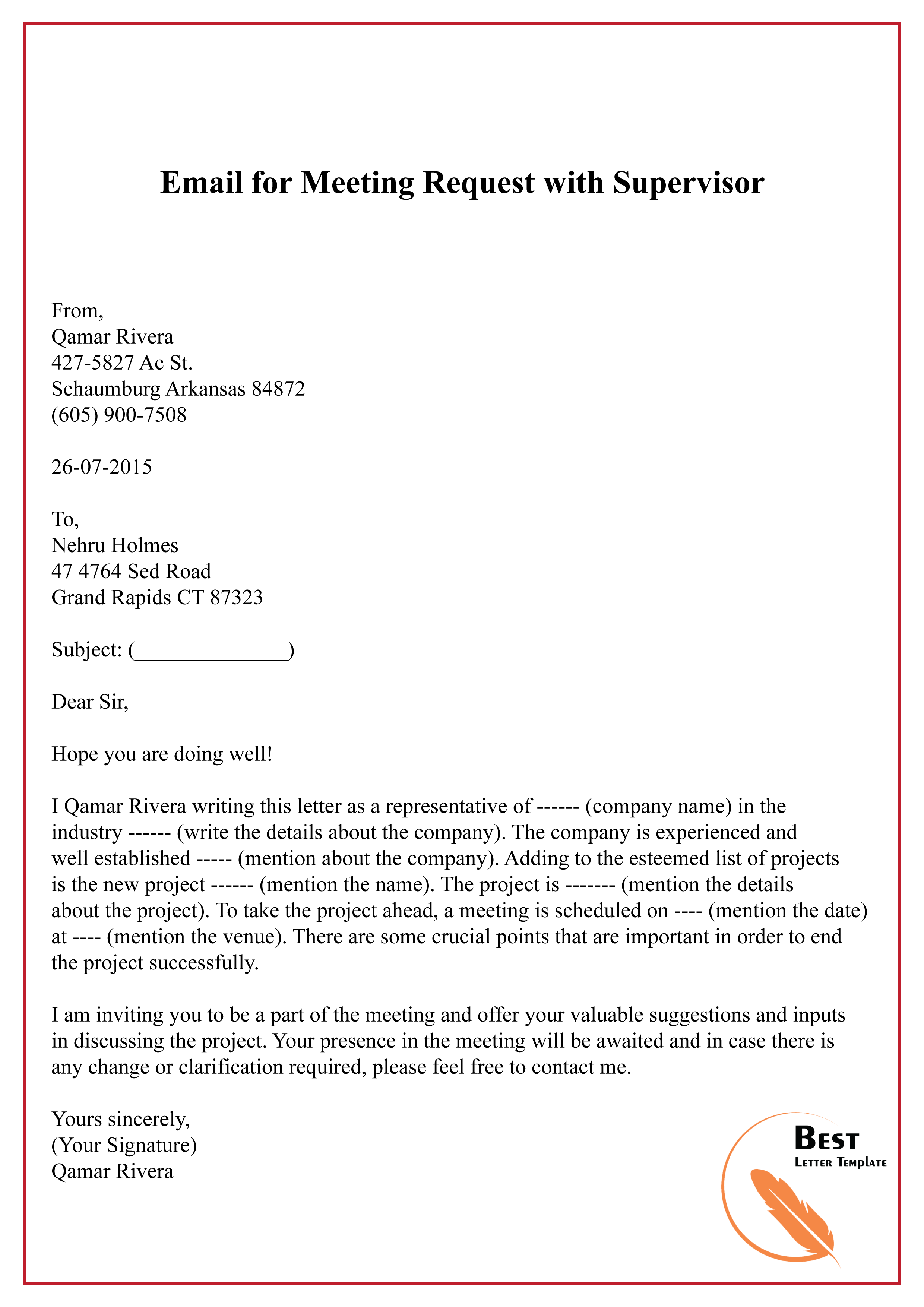 Email for Meeting Request with Supervisor-01 – Best Letter ...