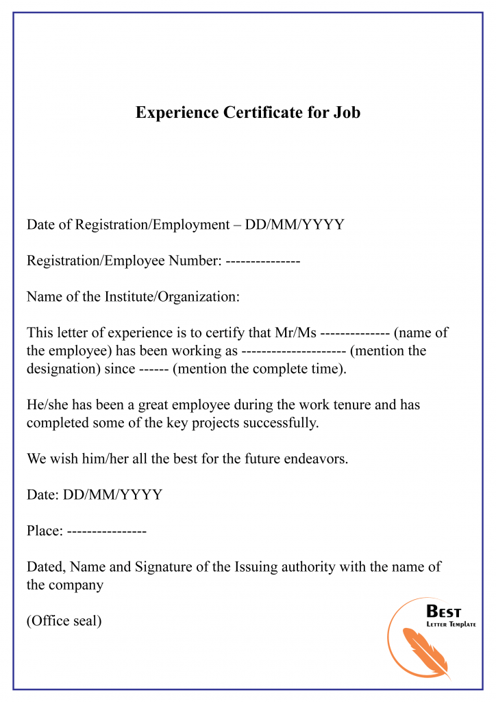 10 Free Experience Certificate Sample Example