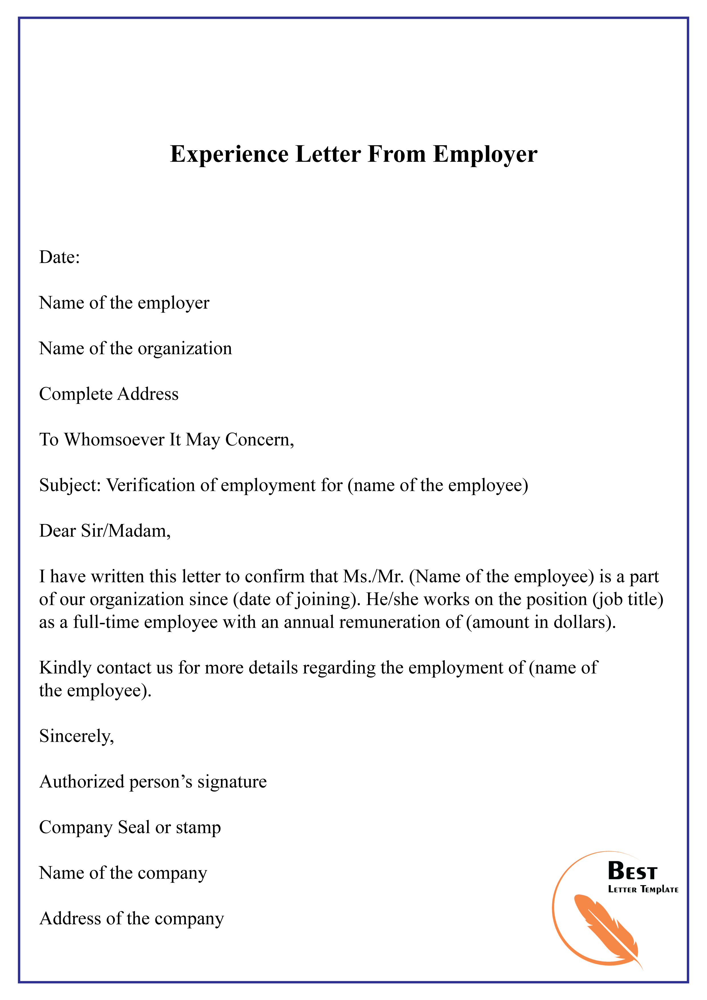 Previous Employer Job Experience Letter Sample From Employer