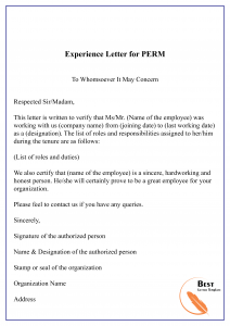 Experience letter for PERM