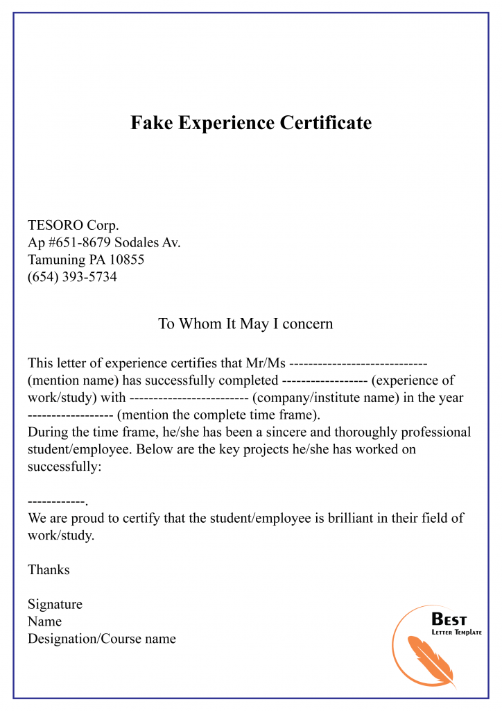 Fake Experience Certificate