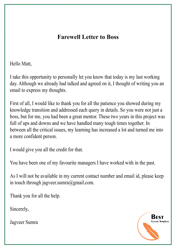 Farewell Letter to Boss