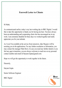 Farewell Letter to Clients