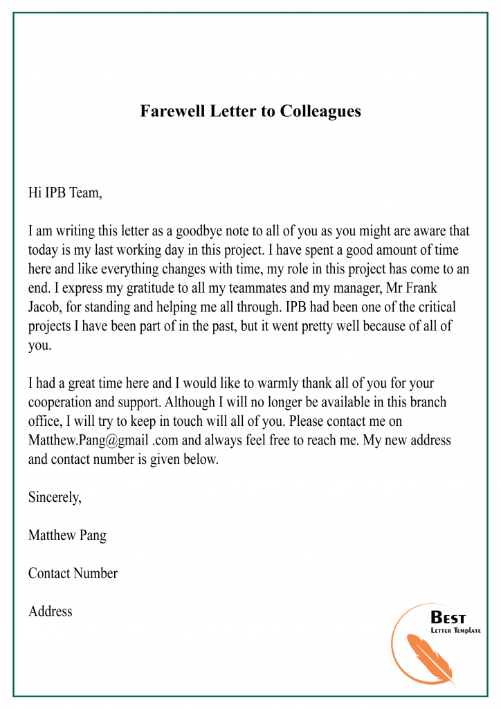 Goodbye Letter To Colleagues After Resignation from bestlettertemplate.com