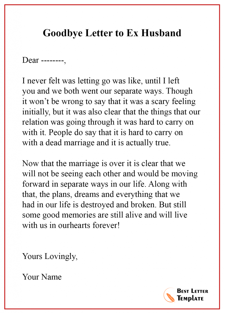 Goodbye Letter Template to Ex husband
