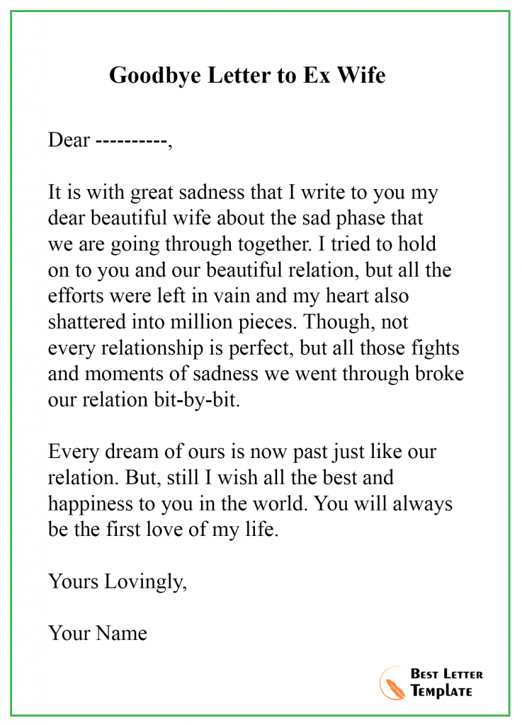 Goodbye Letter to Ex wife