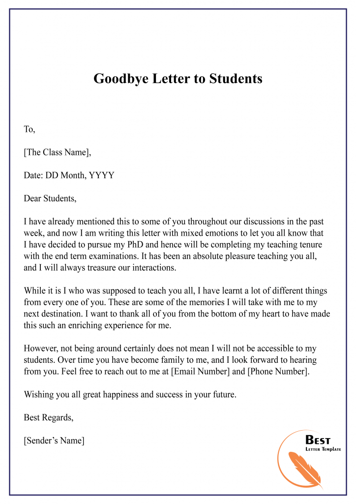 Goodbye Letter to Students