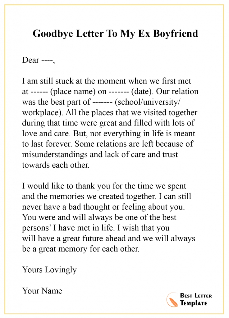 Goodbye Letter Template to Ex