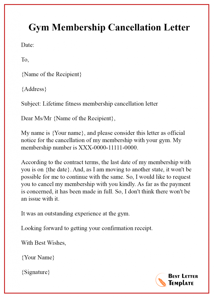 Gym membership cancellation letter