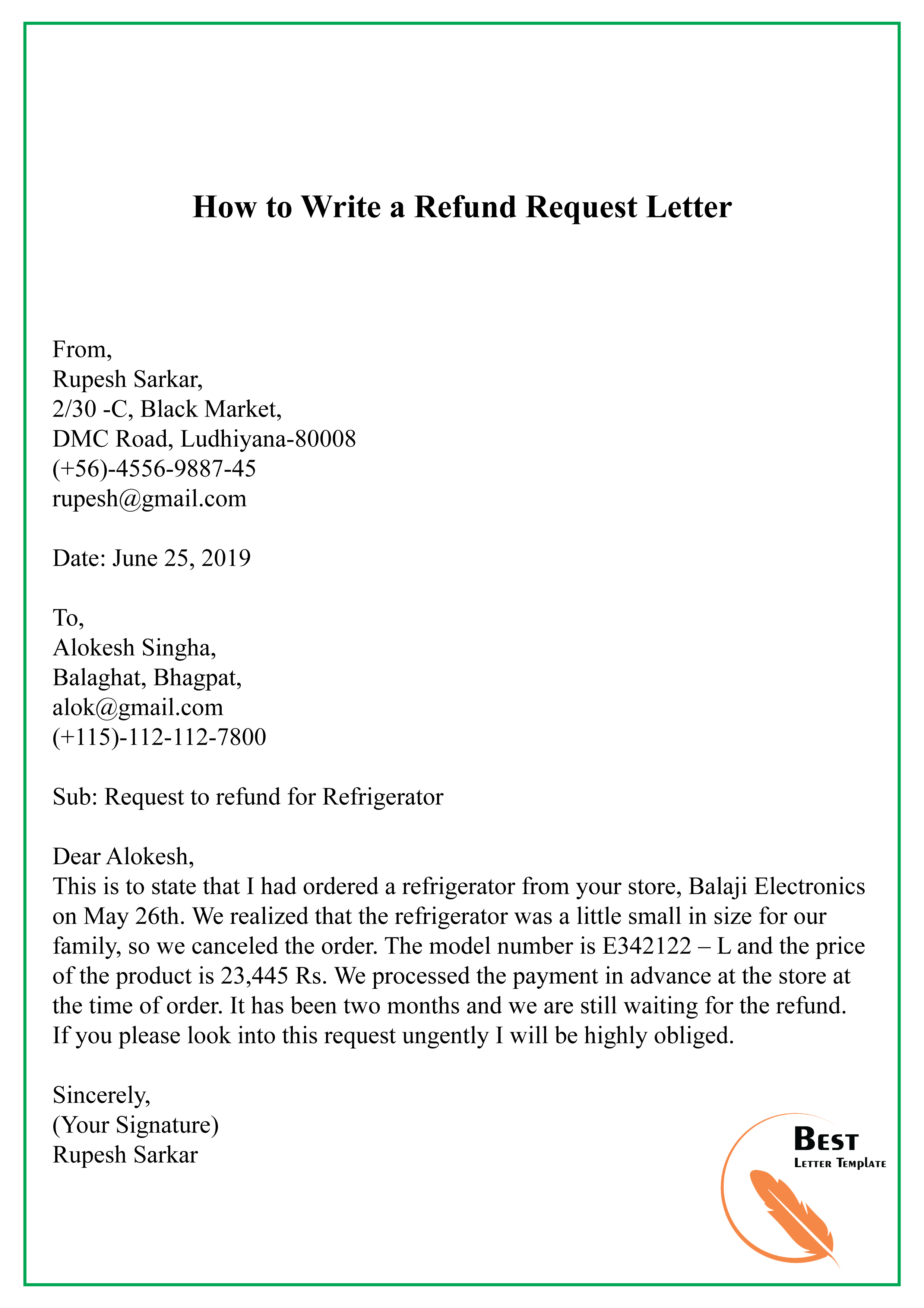 How To Write A Refund Request Letter 01