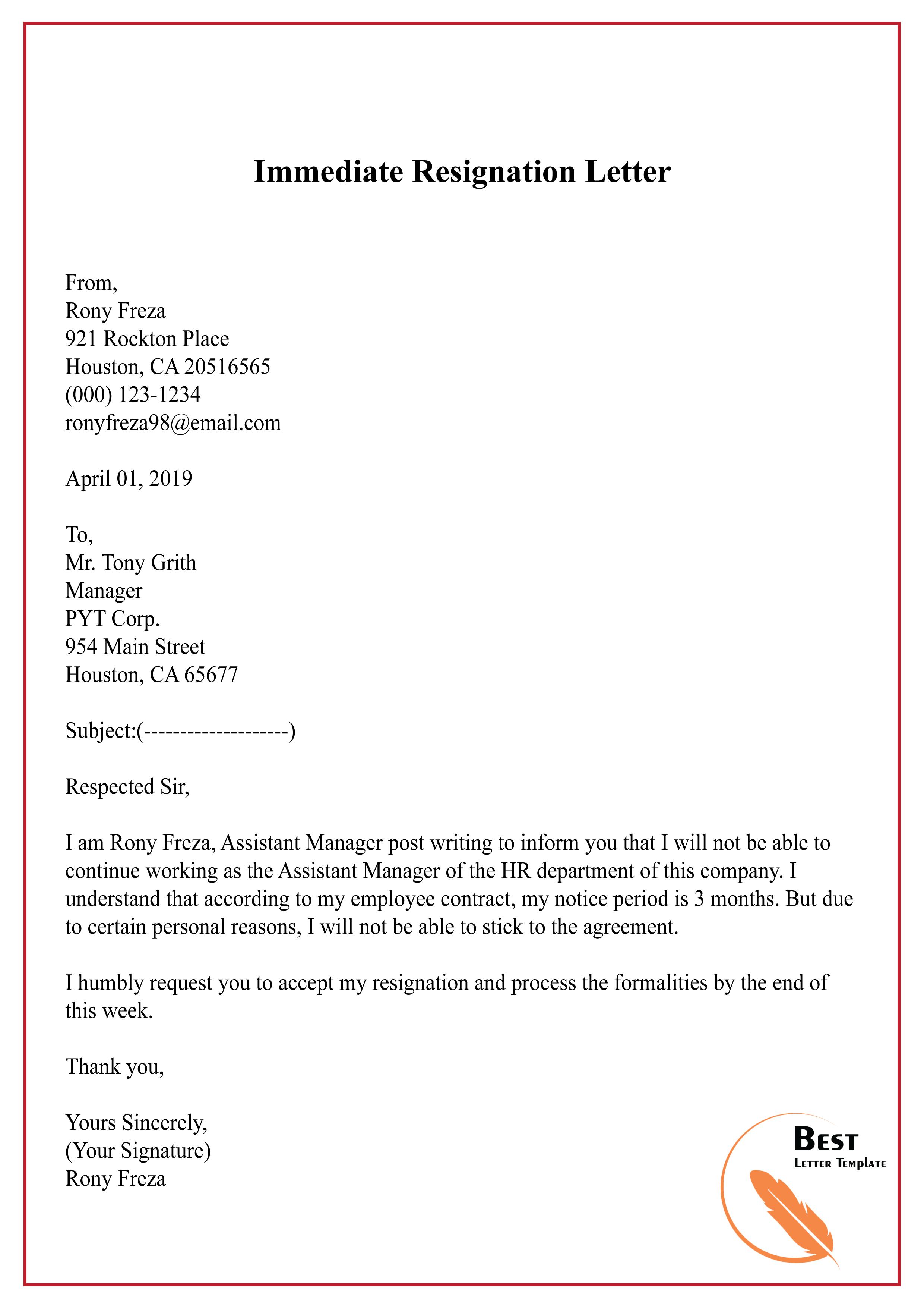 Immediate Resignation Letter-01 | Best Letter Template