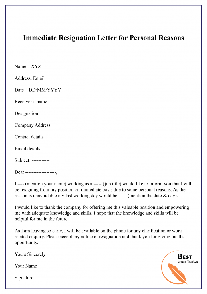 Immediate Letter Of Resignation from bestlettertemplate.com