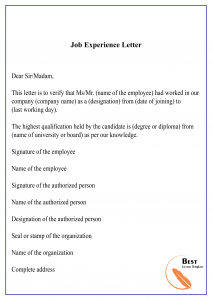 Job Experience Letter