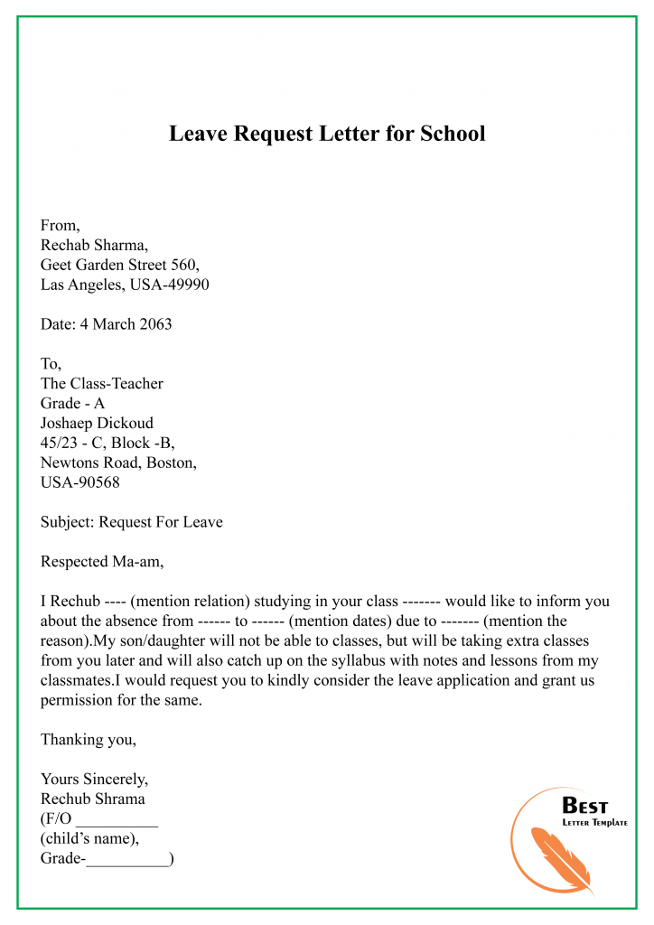 Sample Request Letter Template for Leave/ Vacation/ Holiday