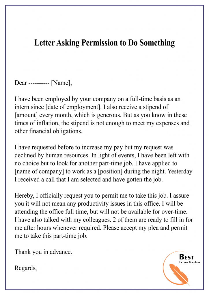 Asking For Permission Letter Template Format Sample