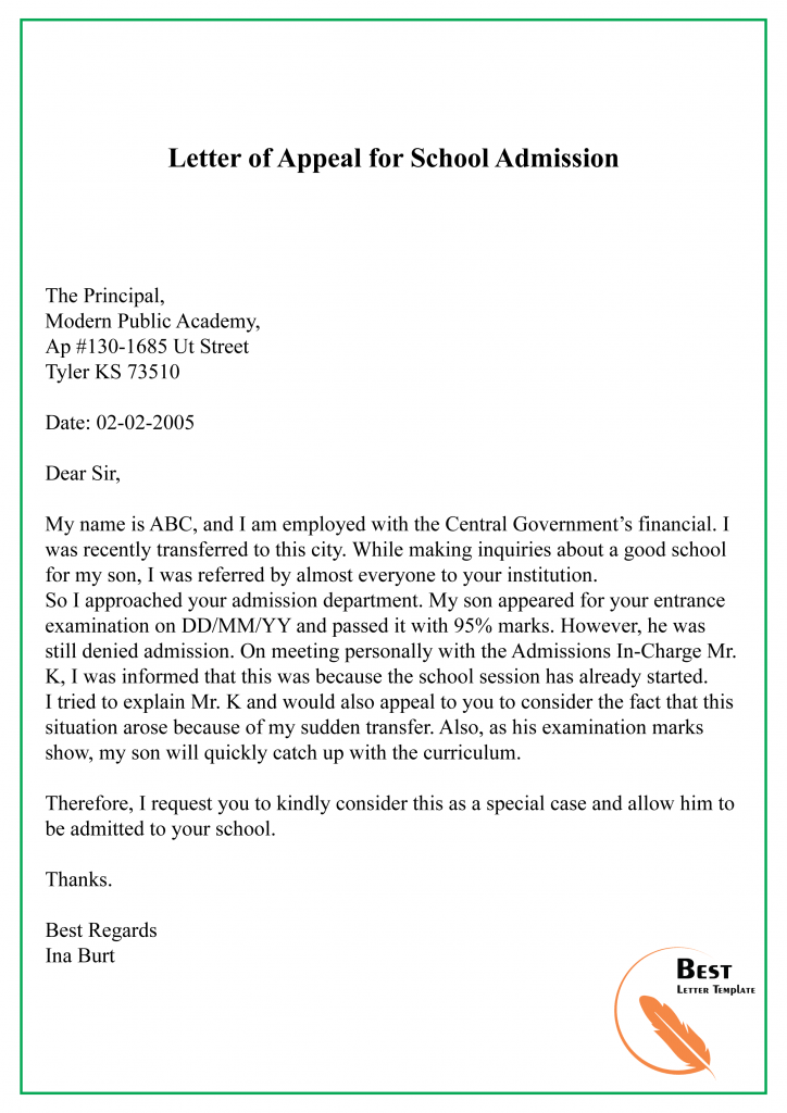 Letter of Appeal for School Admission