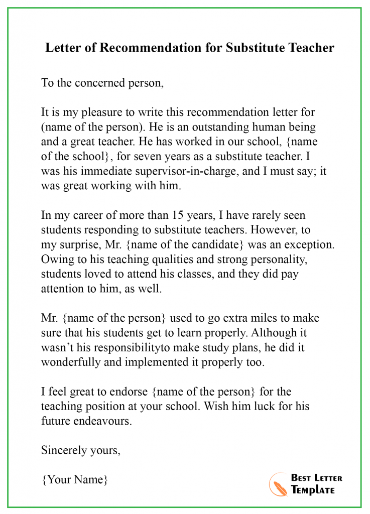 Recommendation Letter Template for Teacher