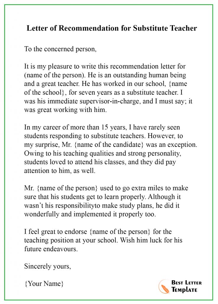 Recommendation Letter for Teacher – Format, Sample & Example | Best