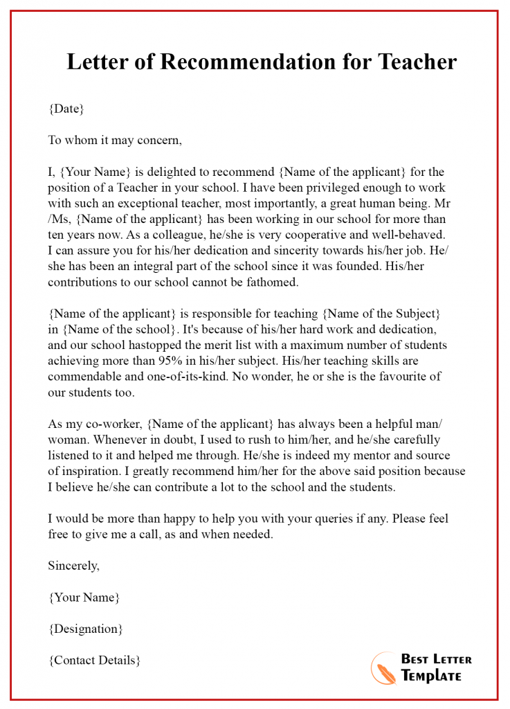 Letter Of Recommendation For A Colleague from bestlettertemplate.com