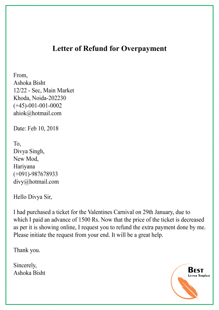 Request Letter Template For Refund Format Sample Example