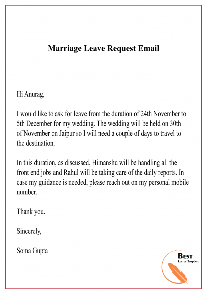 Marriage Leave Request Email