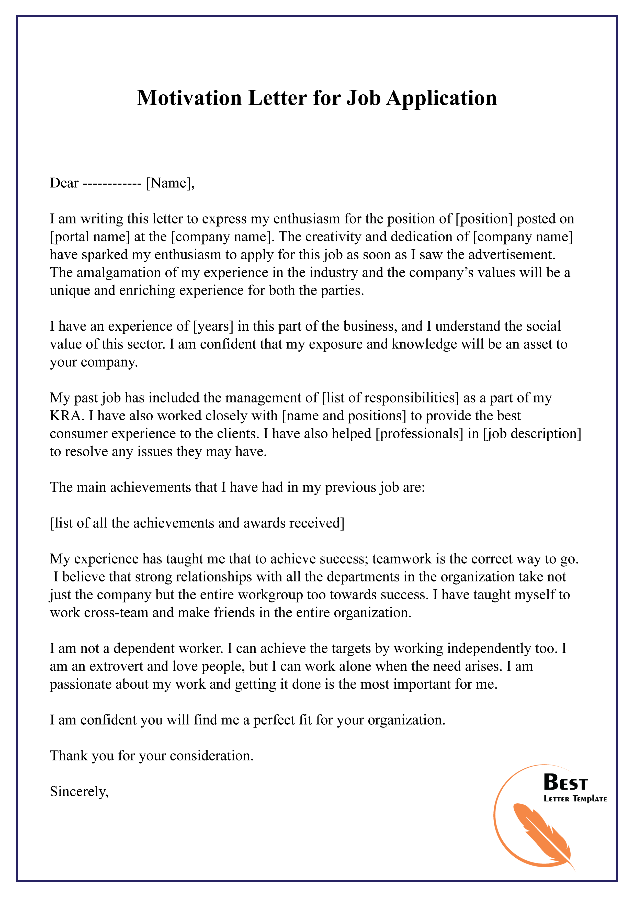 Motivation Letter For Job Application 01
