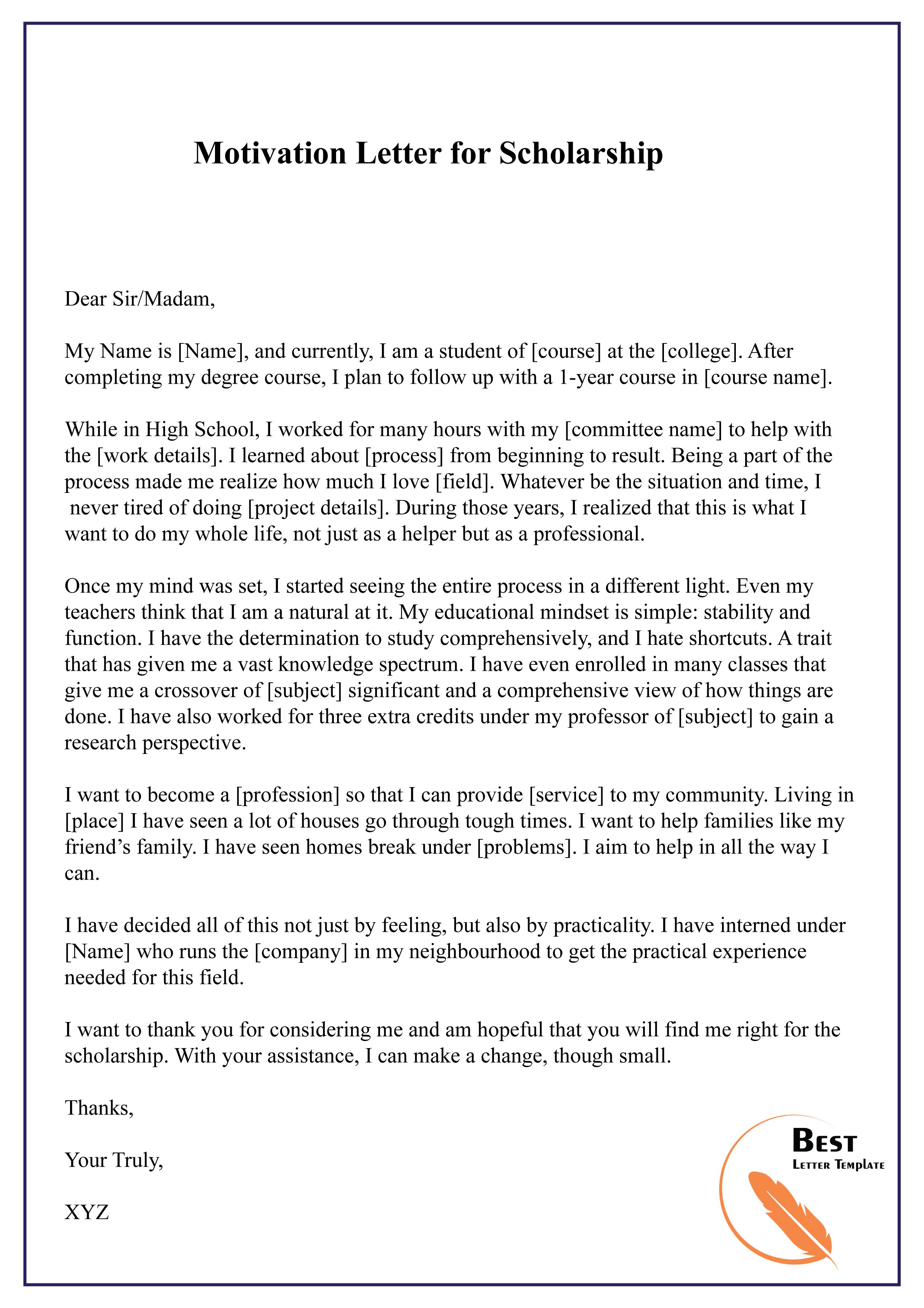 Motivation Letter for Scholarship-01 - Best Letter Template