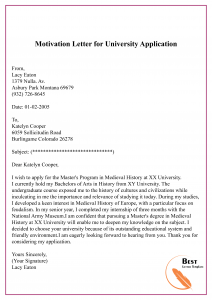 How to write motivation letter for university admission