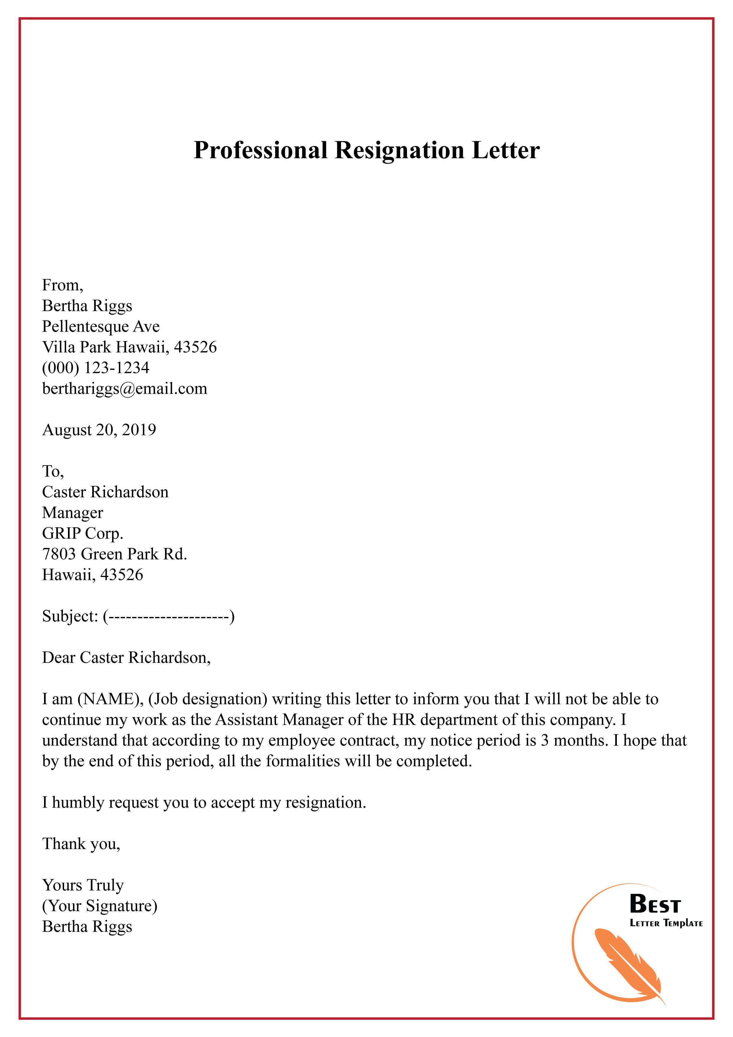 Humble Resignation Letter Sample from bestlettertemplate.com