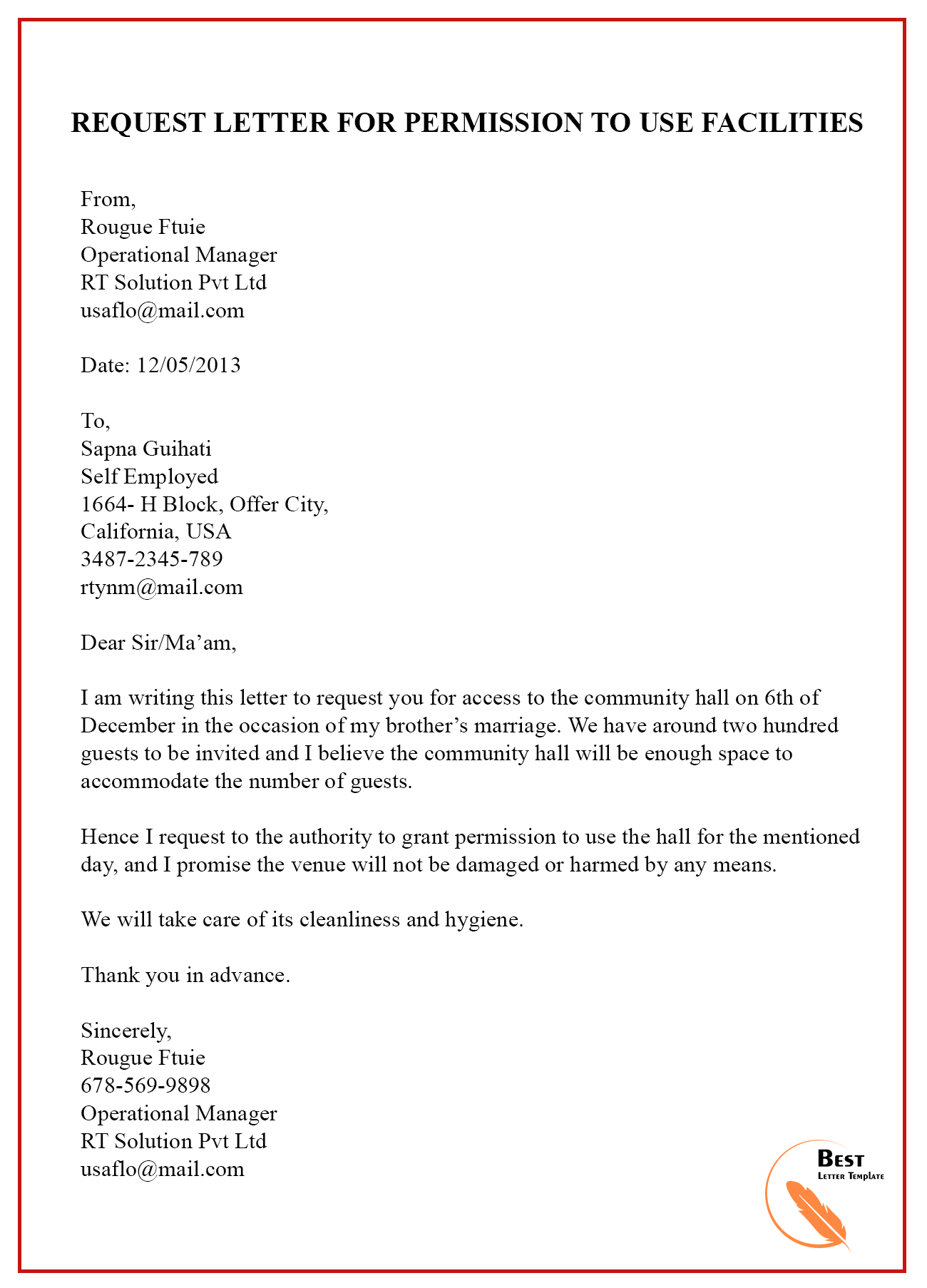 Letter Granting Permission To Use Land from bestlettertemplate.com