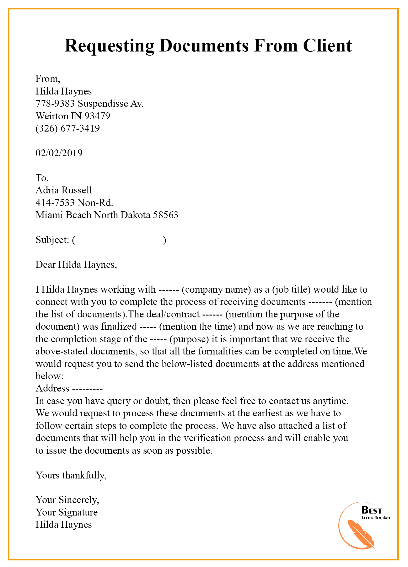 REQUESTING-DOENTS-FROM-CLIENT Sample Appeal Letter Template For Business Name on