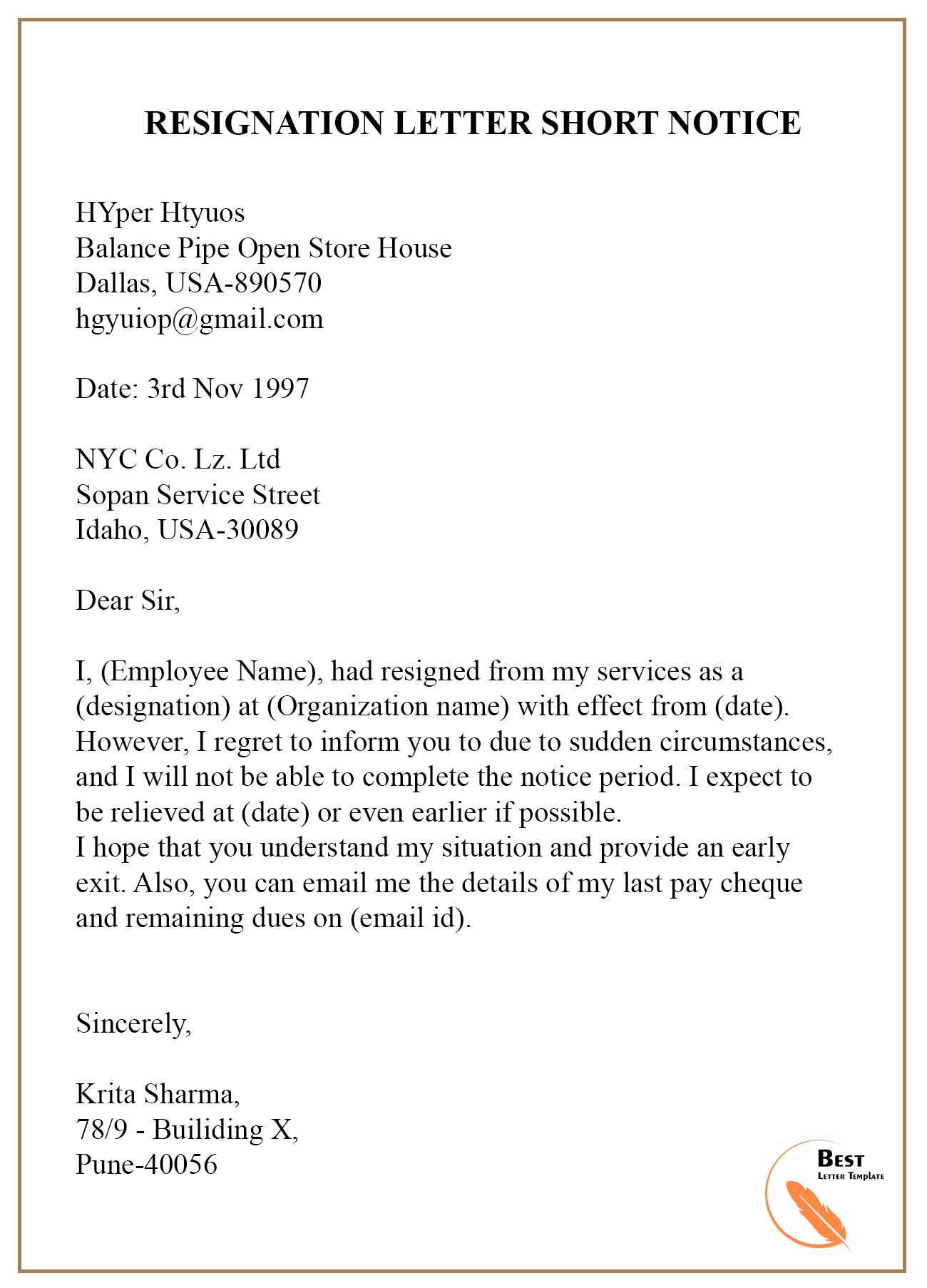 Resignation Letter Example Short Notice from bestlettertemplate.com