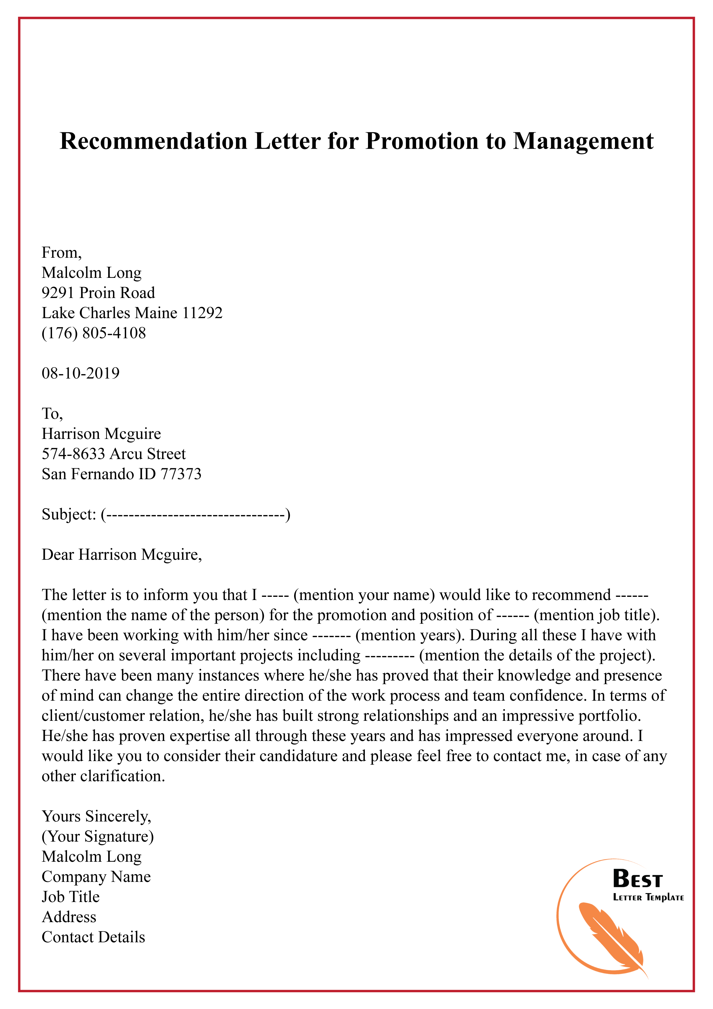 Template For Recommendation Letter from bestlettertemplate.com