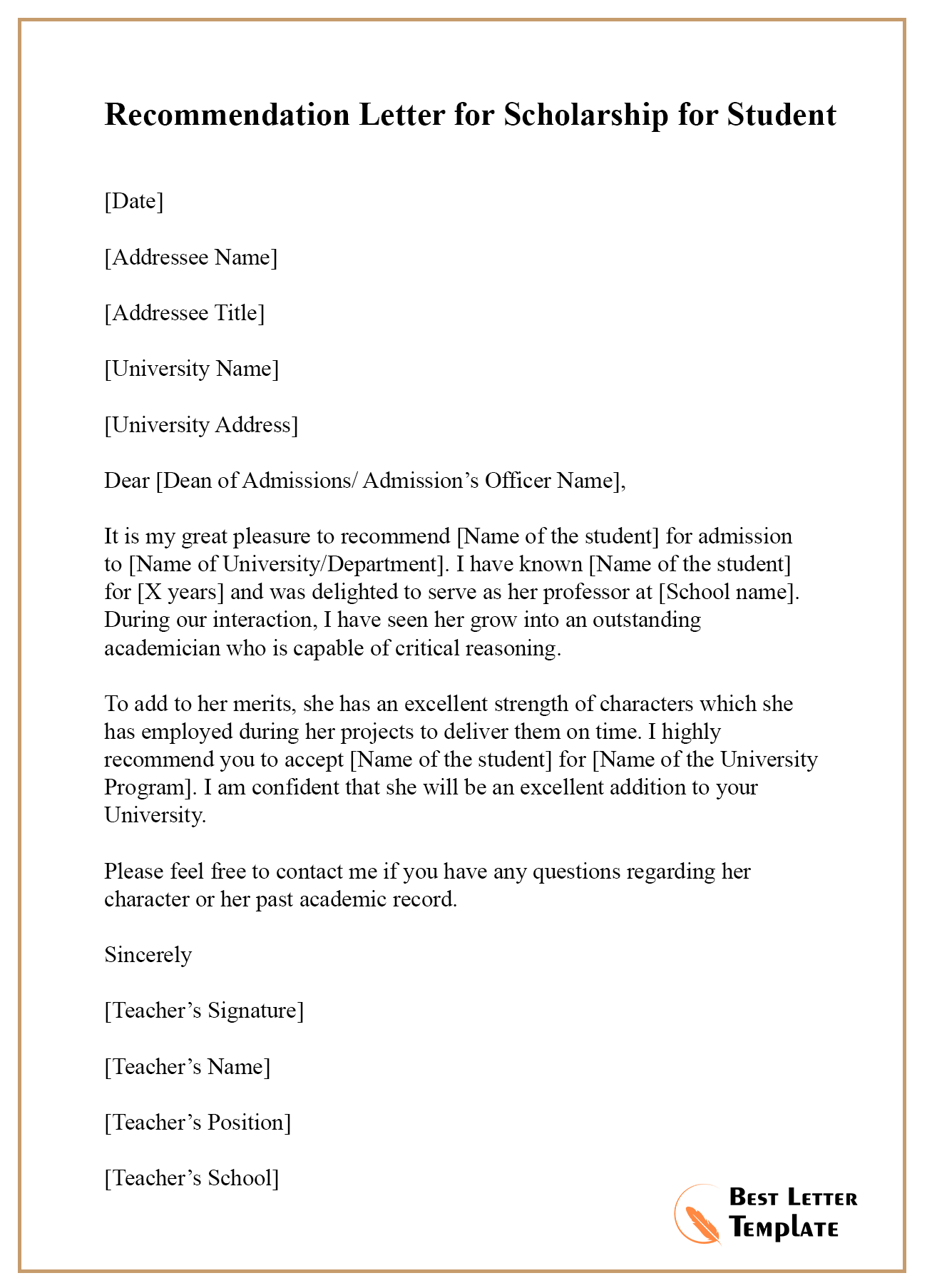 Letter Of Recommendation For Student Scholarship From ...