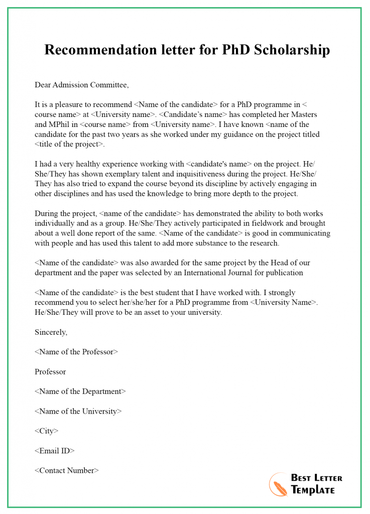 Recommendation letter for PhD Scholarship