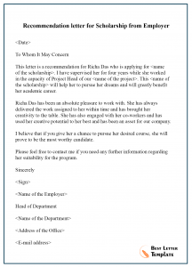 Recommendation letter for Scholarship from Employer