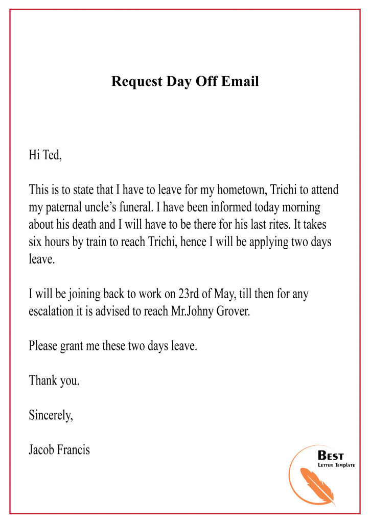 Requesting A Day Off Letter from bestlettertemplate.com