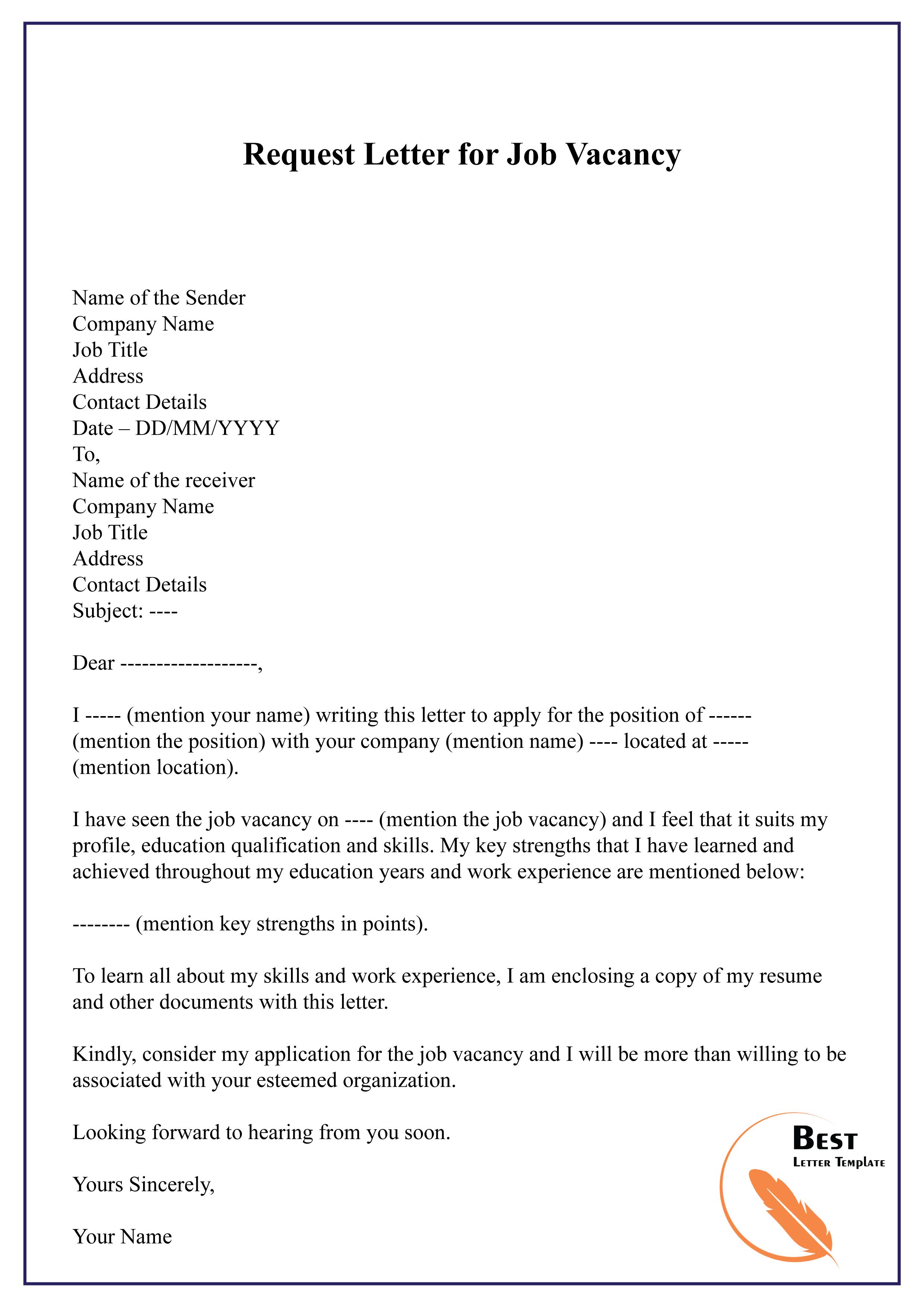 Request Letter For Job Opportunity from bestlettertemplate.com
