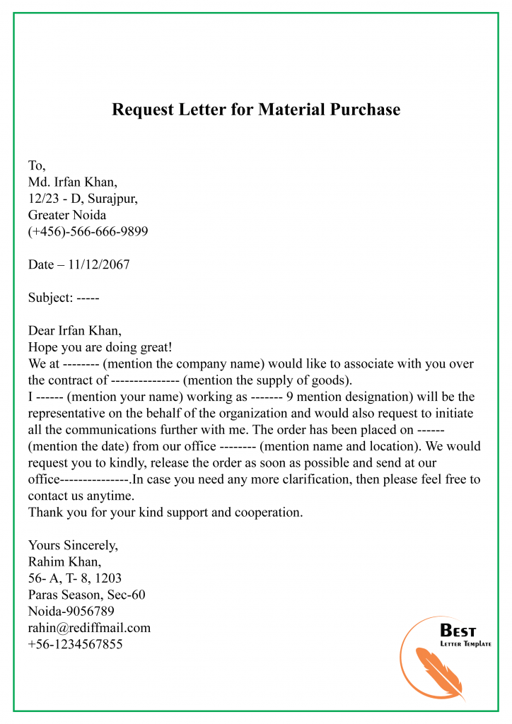 Request Letter for Material